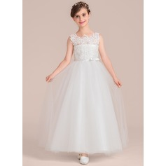 Ball Gown Floor-length Flower Girl Dress - Satin/Tulle/Lace Sleeveless Scoop Neck With Beading/Bow(s)