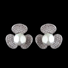Unique Pearl/Zircon Ladies' Earrings