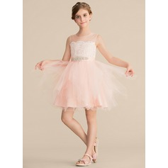 A-Line/Princess Knee-length Flower Girl Dress - Satin/Tulle/Lace Sleeveless Scoop Neck With Rhinestone