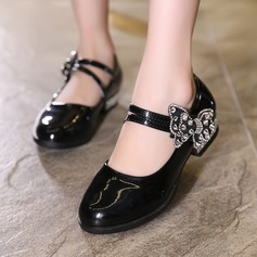 Girl's Leatherette Flat Heel Closed Toe Flats With Bowknot Rhinestone Rivet