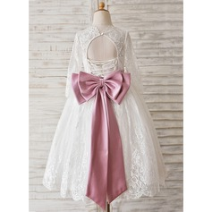Ball Gown Tea-length Flower Girl Dress - Lace Long Sleeves With Sash/Beading/Bow(s)/Back Hole