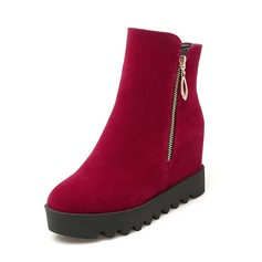 Women's Suede Wedge Heel Boots Ankle Boots With Zipper shoes