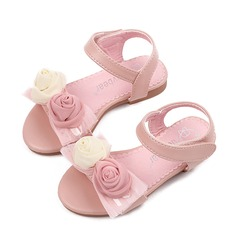Girl's Peep Toe Leatherette Flat Heel Sandals Flats Flower Girl Shoes With Satin Flower