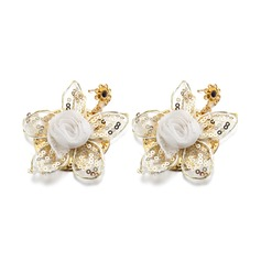 Flower Shaped Alloy/Lace/Gold Plated Ladies' Earrings