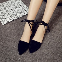 Women's Suede Flat Heel Flats Closed Toe With Lace-up shoes (086145797)