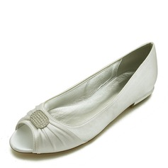Women's Leatherette Flat Heel Flats With Ribbon Tie Crystal