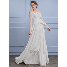 A-Line/Princess Off-the-Shoulder Sweep Train Chiffon Lace Wedding Dress With Ruffle Bow(s)