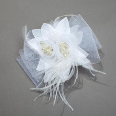 Beautiful Net Yarn/Feather/Silk Flower Combs & Barrettes
