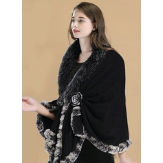 Solid Color Cold weather Wool/Fox Hair/Rex Rabbit Hair Poncho (204172499)