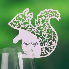 Squirrel Shaped Pearl Paper Place Cards