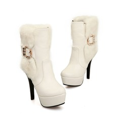 Women's Leatherette Stiletto Heel Platform Ankle Boots With Rhinestone Buckle shoes