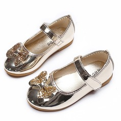 Jentas Lukket Tå Leather flat Heel Flate sko Flower Girl Shoes med Bowknot