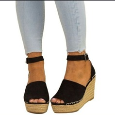 Women's Suede Wedge Heel Sandals Pumps Wedges With Buckle shoes (087166131)