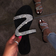 Women's PU Flat Heel Slippers With Sequin shoes (087236302)