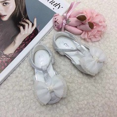 Baby's Round Toe Ballet Flat Lace Flat Heel Flats Flower Girl Shoes With Bowknot Velcro