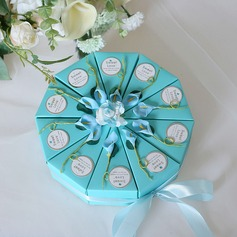 Romantic Moment Cubic Card Paper Favor Boxes With Flowers