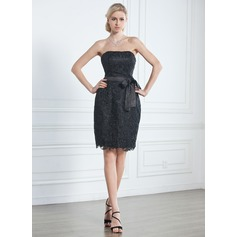 Sheath/Column Strapless Knee-Length Lace Little Black Dress
