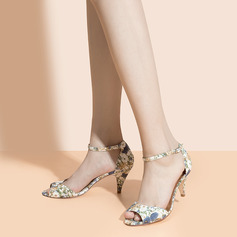 Women's Satin Cone Heel Peep Toe With Buckle Flower