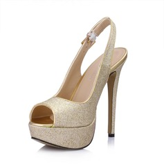 Women's Leatherette Sparkling Glitter Stiletto Heel Sandals Platform Peep Toe Slingbacks With Buckle shoes