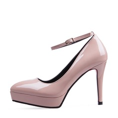Women's Leatherette Stiletto Heel Closed Toe Platform Pumps MaryJane With Buckle