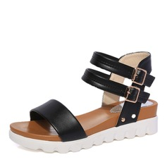 Women's Leatherette Wedge Heel Sandals With Buckle shoes