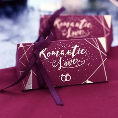 Sweet Love Cubic Card Paper Favor Boxes With Ribbons