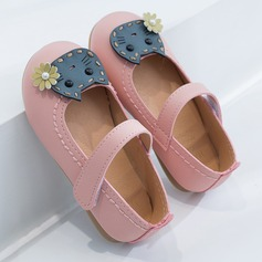 Girl's Round Toe Closed Toe Leatherette Flat Heel Flats With Velcro Ruffles Applique