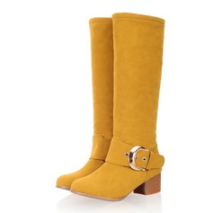 Women's Suede Chunky Heel Mid-Calf Boots With Buckle shoes