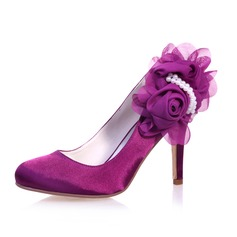 Women's Satin Stiletto Heel Closed Toe Pumps With Imitation Pearl Satin Flower