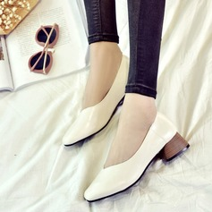 Women's PU Chunky Heel Closed Toe shoes