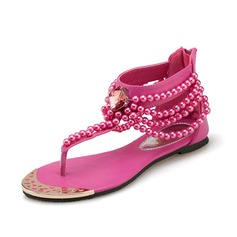 Leatherette Flat Heel Sandals With Beading shoes