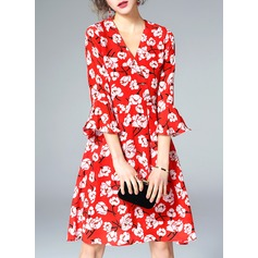 Silk With Print Above Knee Dress (199132449)