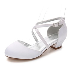 Jentas Round Toe Lukket Tå Mary Jane Blonder Silk Som Satin lav Heel Flower Girl Shoes med Rhinestone