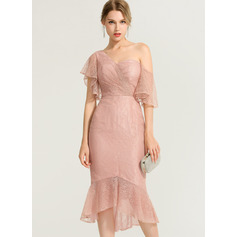 Trumpet/Mermaid One-Shoulder Asymmetrical Lace Cocktail Dress