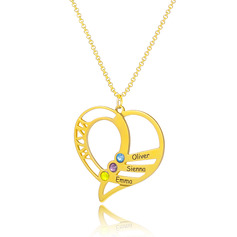 Custom 18k Gold Plated Silver Heart Engraving/Engraved Three Family Necklace With Birthstone - Birthday Gifts Mother's Day Gifts