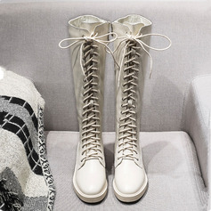 Women's Leatherette Low Heel Boots Knee High Boots Riding Boots With Zipper Lace-up shoes