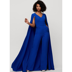 Sheath/Column V-neck Floor-Length Stretch Crepe Evening Dress
