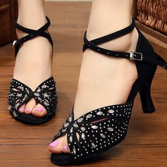 Women's Suede Sandals Pumps Latin Party With Rhinestone Hollow-out Dance Shoes