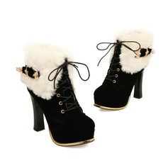 Women's Suede Chunky Heel Platform Ankle Boots With Fur Braided Strap shoes