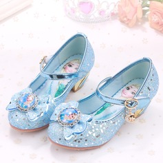Girl's Closed Toe Sparkling Glitter Low Heel Pumps Flower Girl Shoes With Rhinestone Sparkling Glitter Velcro