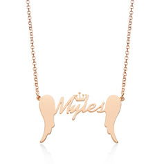 Custom 18k Rose Gold Plated Letter Name Necklace With Crown Wings - Birthday Gifts