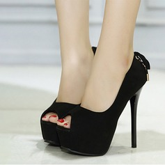 Suede Stiletto Heel Pumps Platform Peep Toe With Bowknot shoes