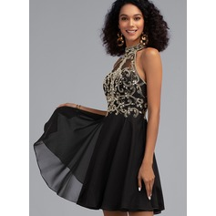 A-Line High Neck Short/Mini Chiffon Cocktail Dress With Beading