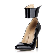Patent Leather Stiletto Heel Pumps Closed Toe With Zipper shoes