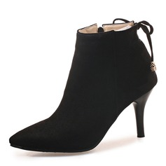 Women's Suede Stiletto Heel Pumps Boots Mid-Calf Boots With Lace-up shoes