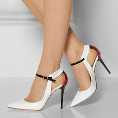 Women's Patent Leather Stiletto Heel Sandals Pumps Closed Toe With Buckle Hollow-out shoes (087124927)