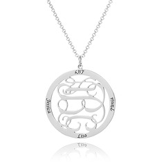 Custom Sterling Silver Engraving/Engraved Four Monogram Necklace Family Necklace Circle Necklace - Birthday Gifts Mother's Day Gifts