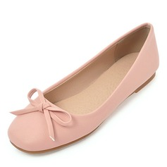 Women's Leatherette Flat Heel Flats Closed Toe With Bowknot shoes (086182903)