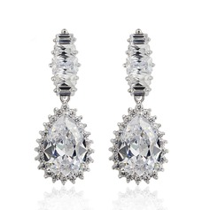 Gorgeous Zircon/Platinum Plated Ladies' Earrings