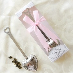 """Tea Time"" Heart Shaped Metal Tea Party Favors/Tea Infuser With Ribbons"